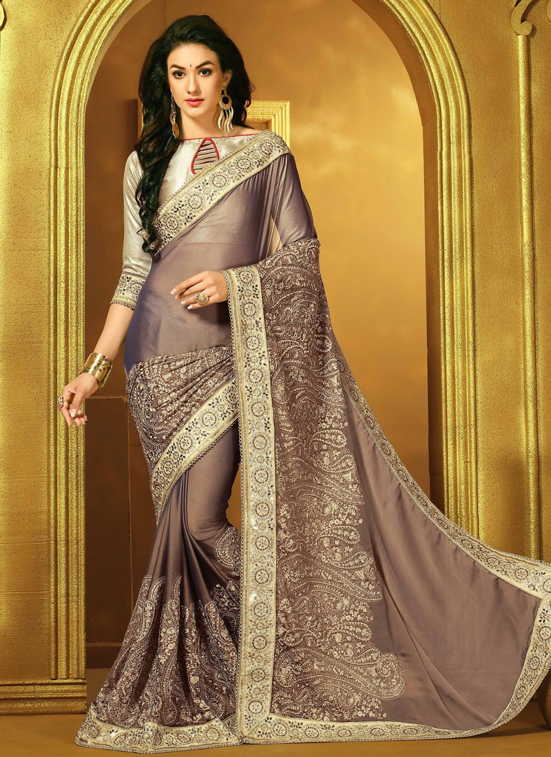 Perfervid Chiffon Satin Brown Color Designer Saree