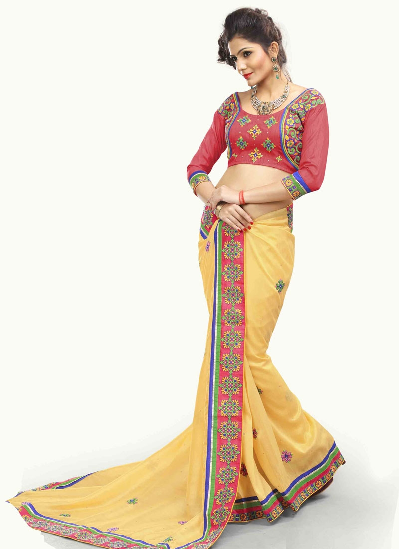 Perfervid Cream Color Party Wear Saree