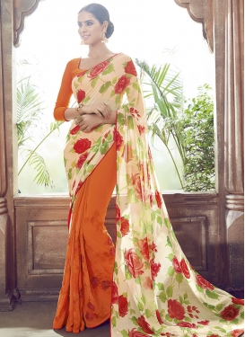 Perfervid Digital Print Work Half N Half Party Wear Saree