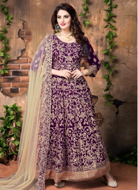 Perfervid Embroidered Work Banglori Silk Long Length Anarkali Suit