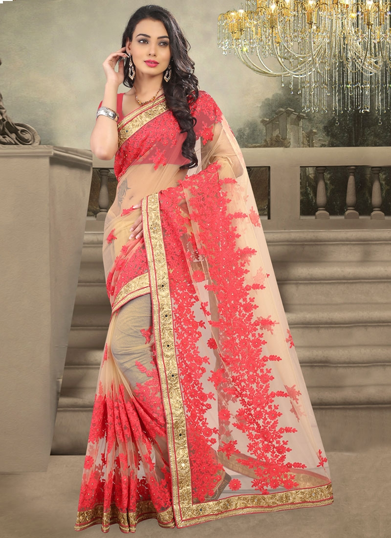 Perfervid Embroidery Work Net Wedding Saree