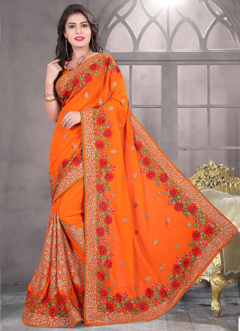 Perfervid Floral And Booti Work Wedding Saree