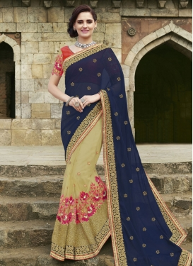 Perfervid Floral And Mirror Work Half N Half Designer Saree