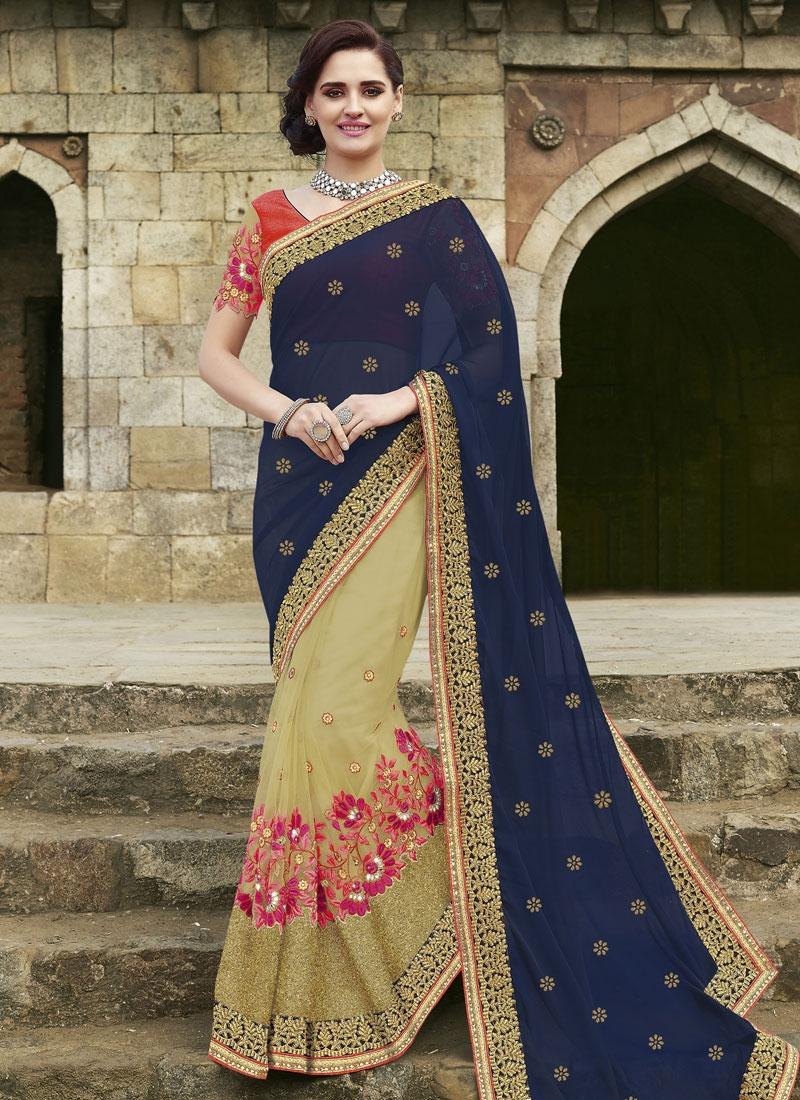 Perfervid Floral And Mirror Work Half N Half Designer Saree