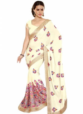 Perfervid Floral Work Cream Color Designer Saree