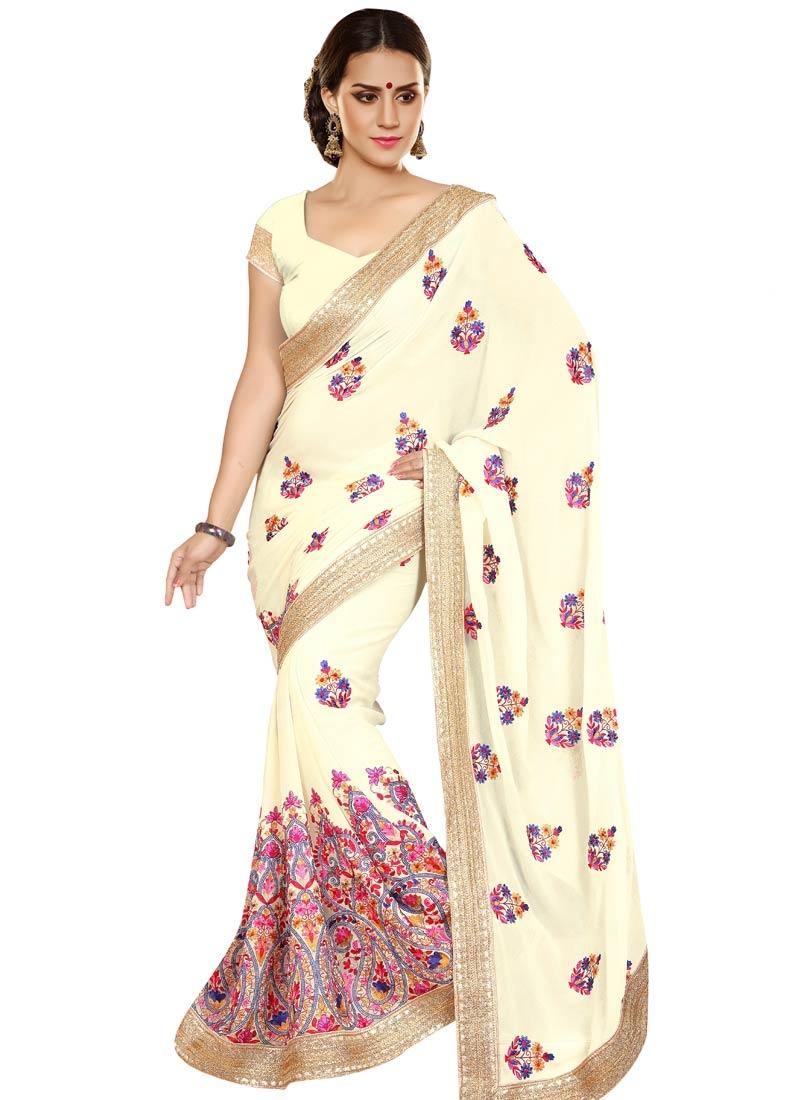 Perfervid Floral Work Cream Color Designer Saree