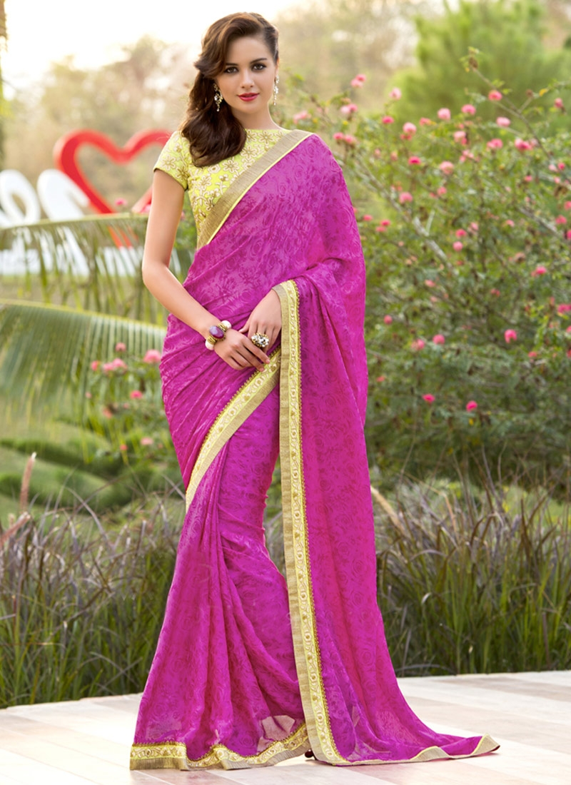 Perfervid Lace And Resham Work Chiffon Satin Party Wear Saree