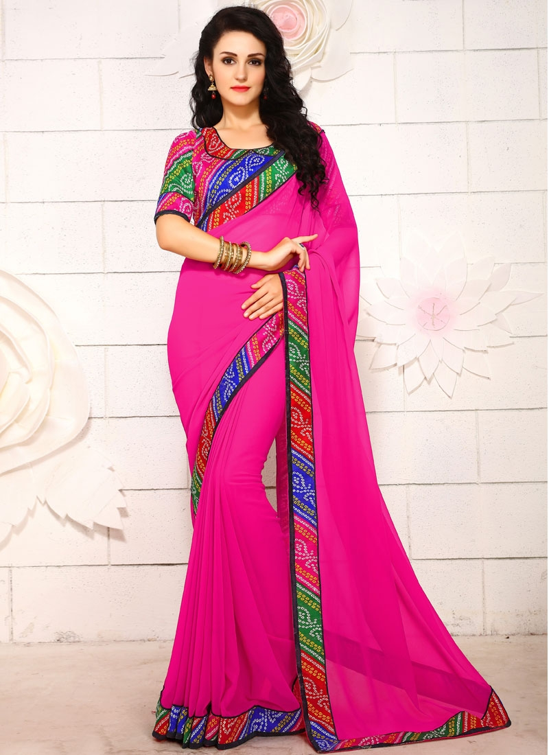 Perfervid Lace Work Faux Georgette Casual Saree