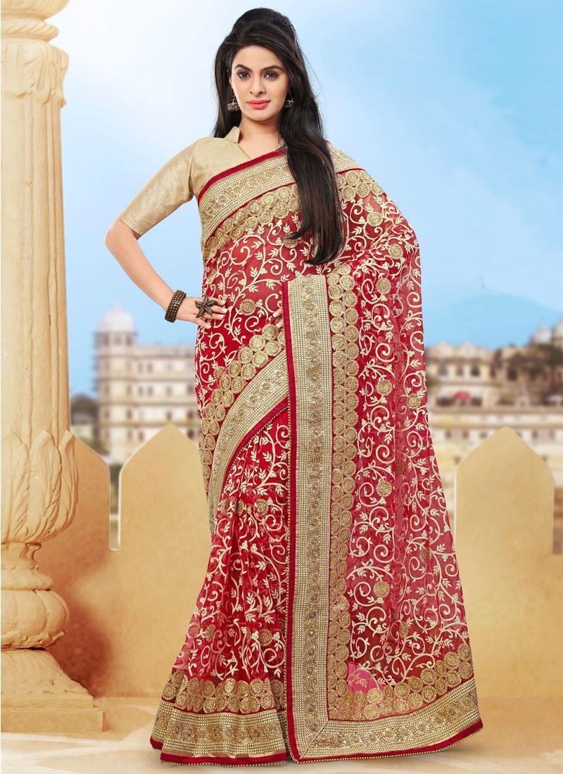 Perfervid Lace Work Net Bridal Saree