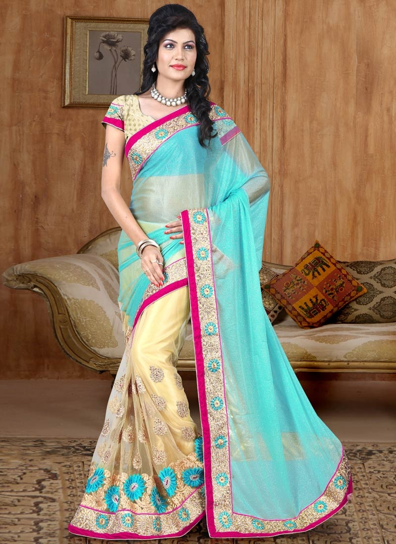 Perfervid Lycra And Net Half N Half Wedding Saree