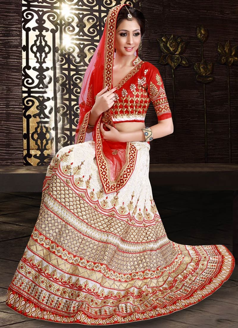 Perfervid Off White Color Pure Georgette Bridal Lehenga Choli