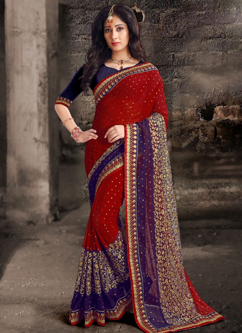 Perfervid Red Color Embroidery Work Designer Saree