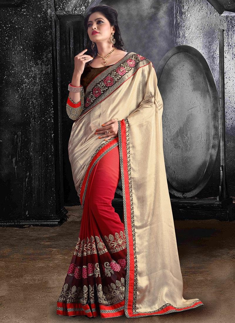 Perfervid Resham Work Half N Half Party Wear Saree