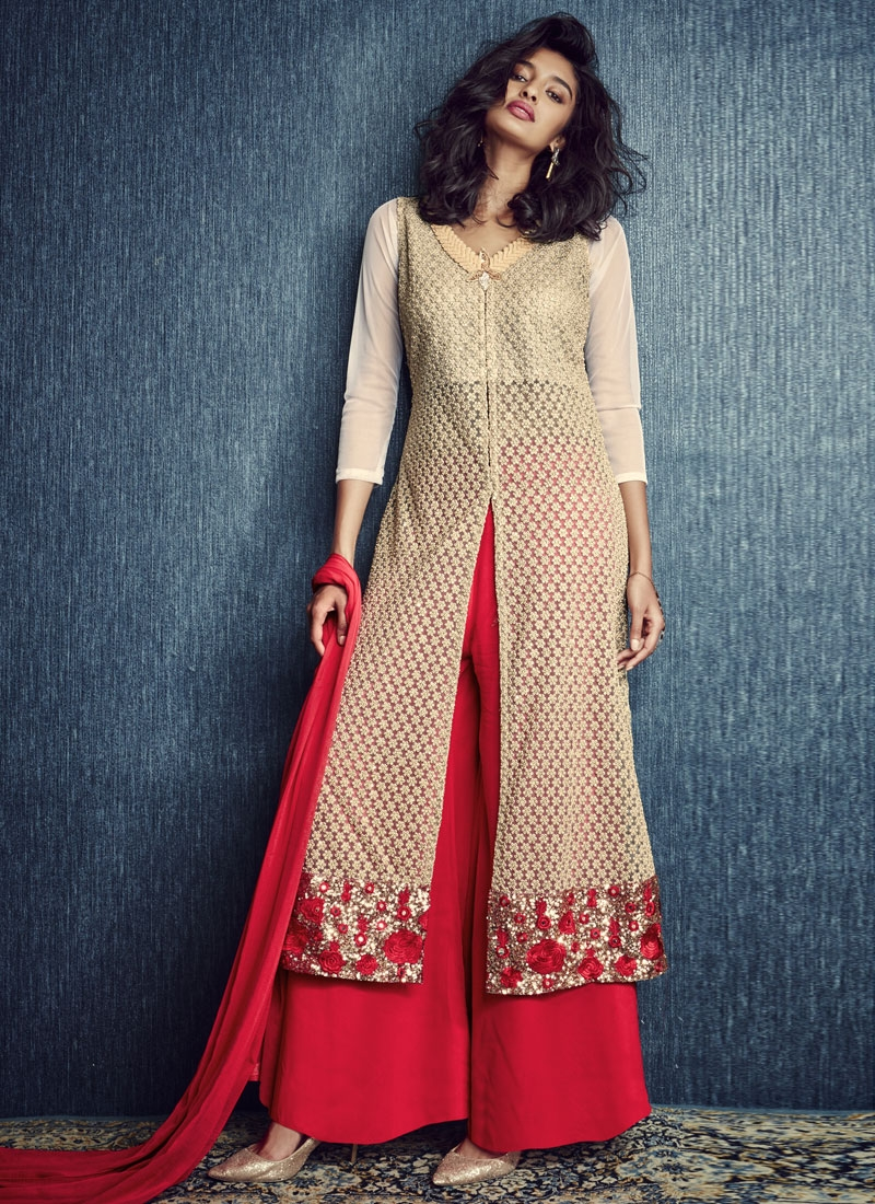 Perfervid Sequins And Beads Work Palazzo Style Party Wear Suit