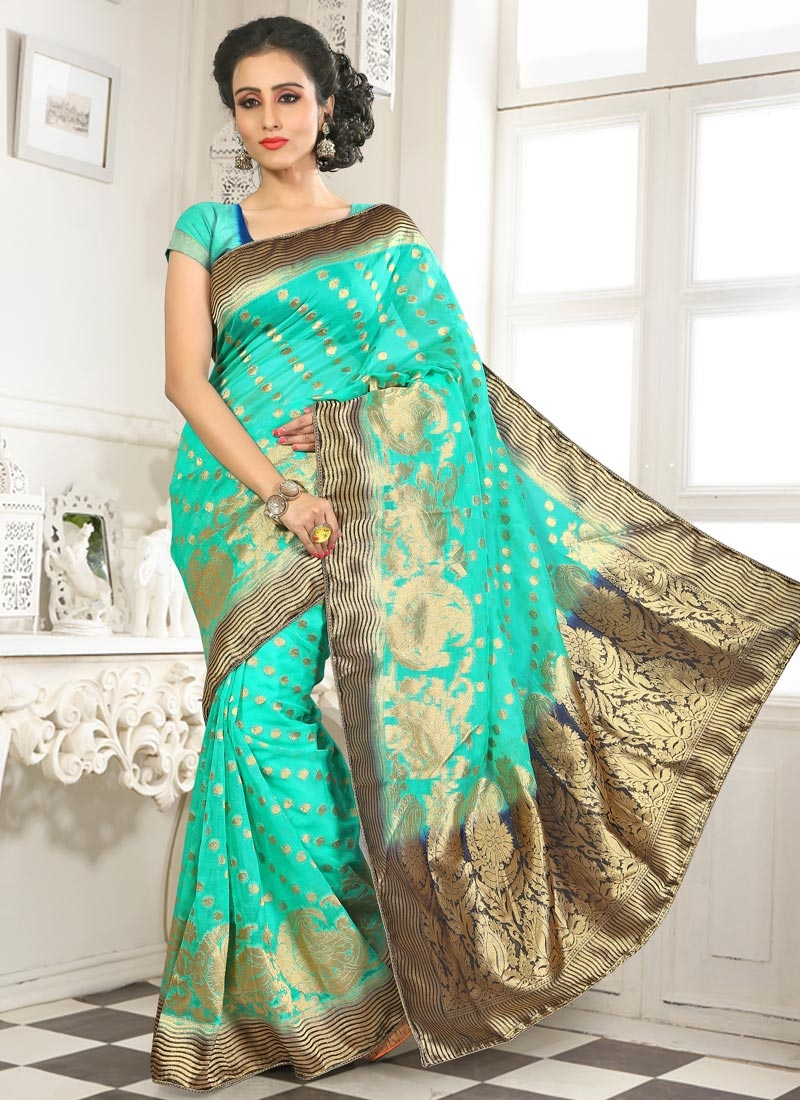 Perfervid Turquoise Color Party Wear Saree