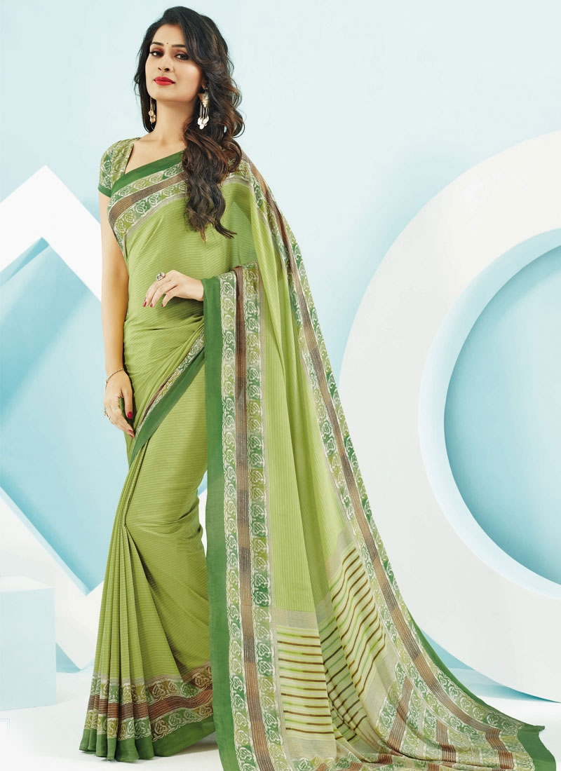 Phenomenal Aloe Veera Green Color Casual Saree