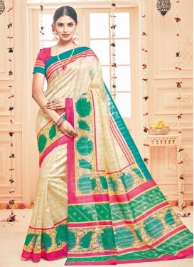 Phenomenal Art Silk Cream and Green Print Work Trendy Classic Saree