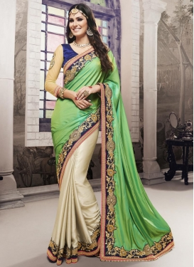 Phenomenal  Beads Work Chiffon Satin Beige and Mint Green Half N Half Designer Saree