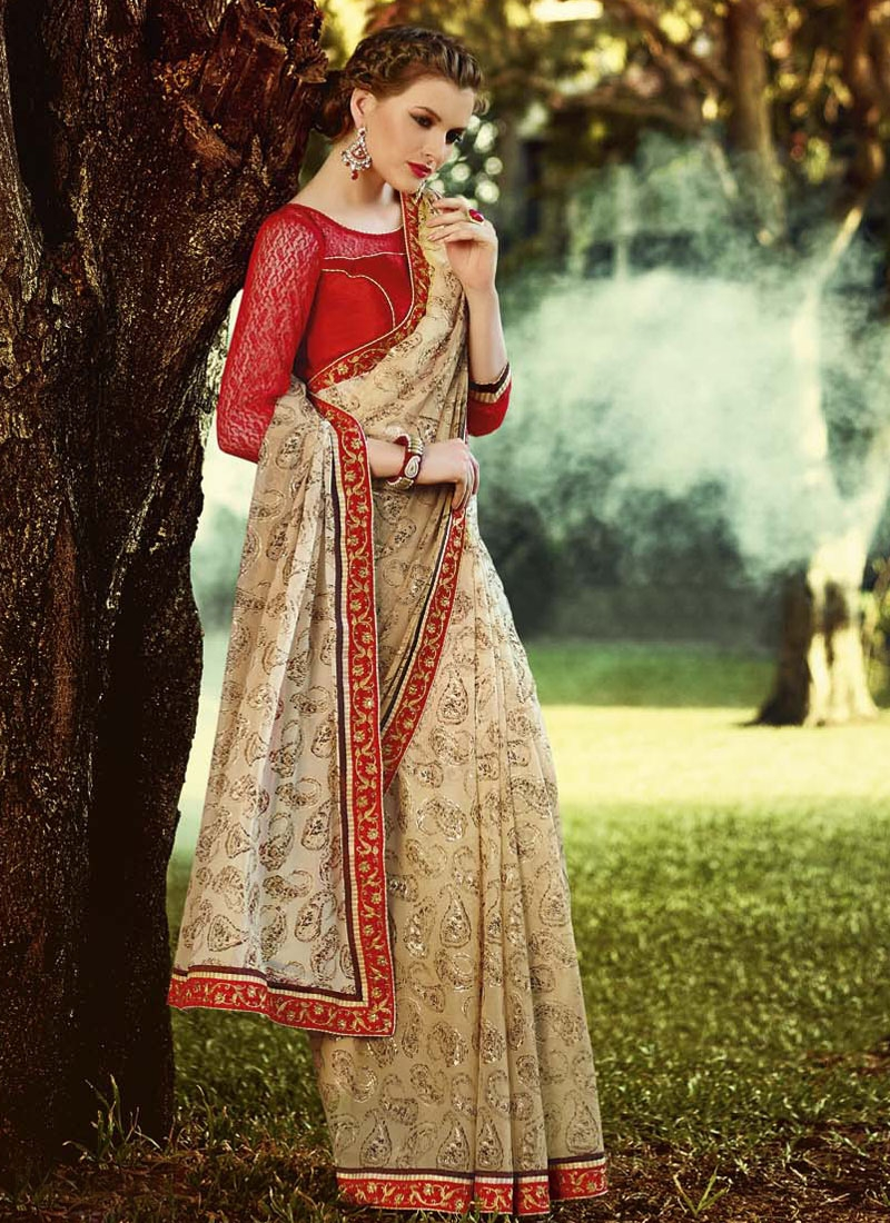 Phenomenal Beige Color Lace Work Casual Saree
