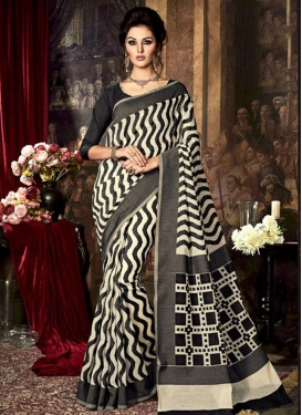 Phenomenal Black and Cream Resham Work Art Raw Silk Contemporary Saree For Ceremonial