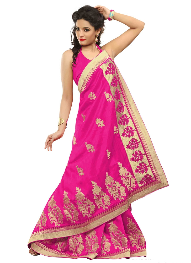 Phenomenal Booti Work Hot Pink Color Party Wear Saree
