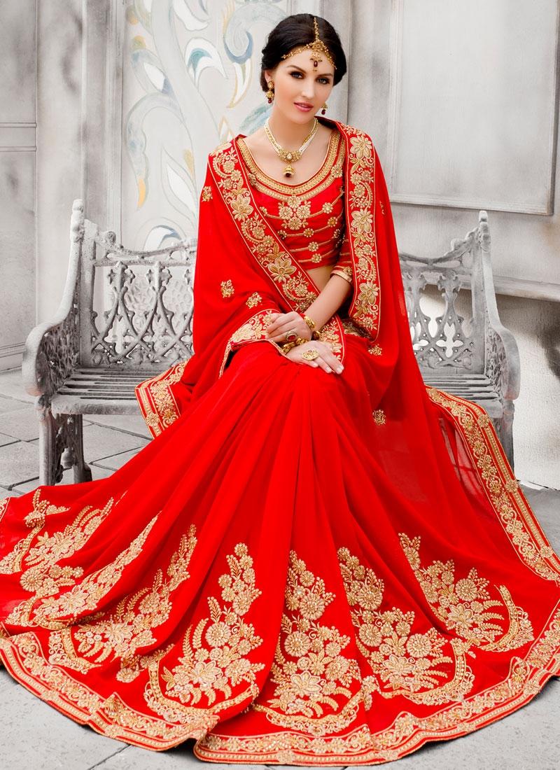 Phenomenal Booti Work Red Color Wedding Saree