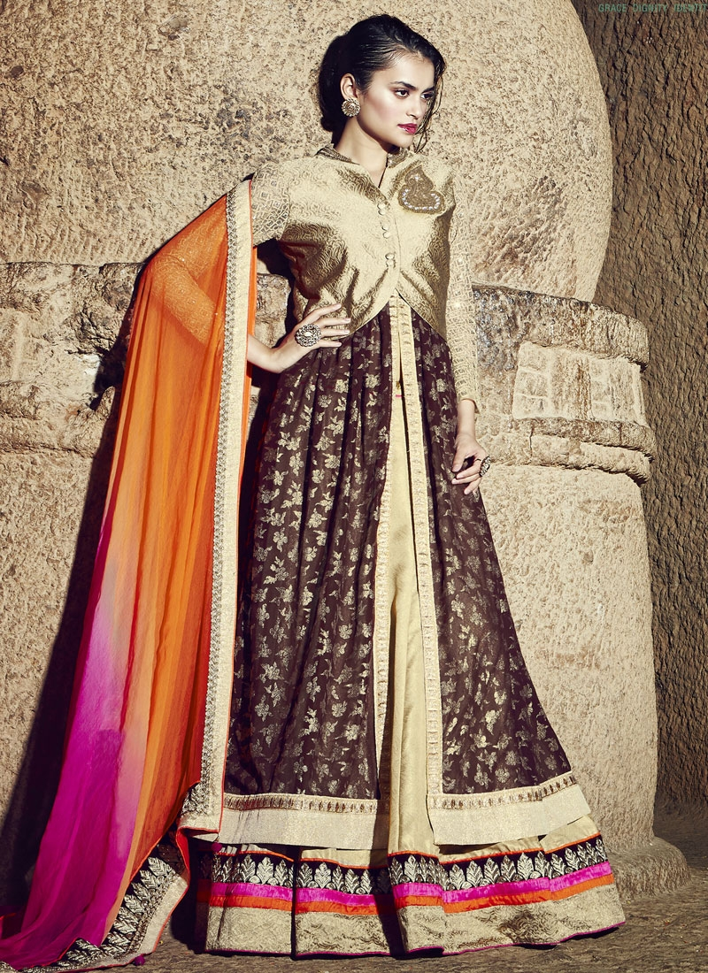 Phenomenal Brocaed Jacket Style Designer Lehenga Choli