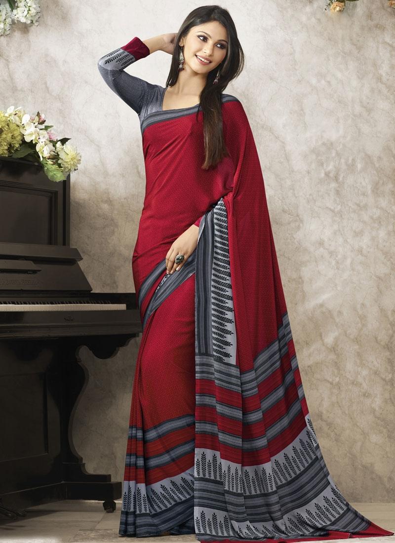 Phenomenal Crimson And Grey Color Casual Saree