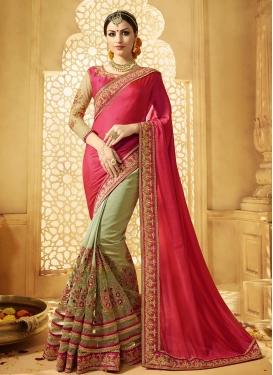 Phenomenal Embroidered Work Art Silk Half N Half Trendy Saree