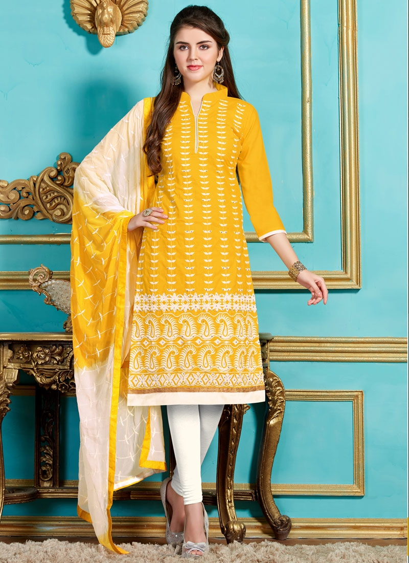 Phenomenal Embroidery Work Churidar Salwar Kameez