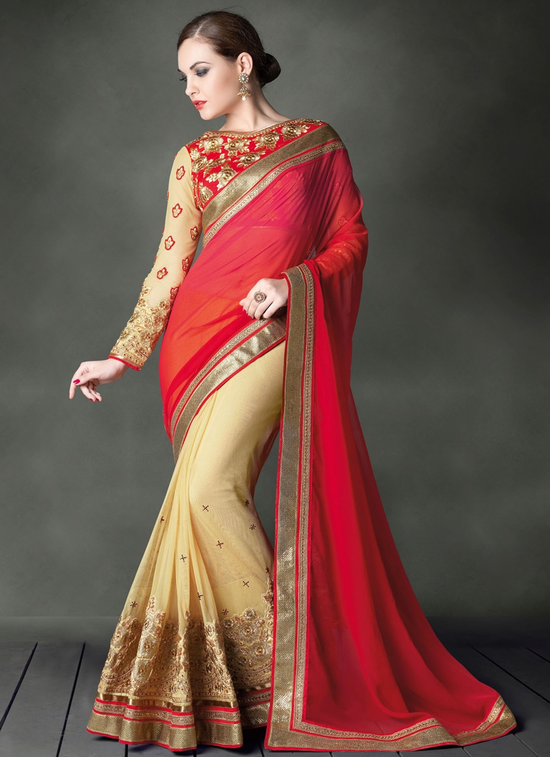 Phenomenal Embroidery Work Half N Half Wedding Saree