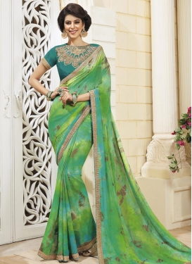 Phenomenal Faux Chiffon Digital Print Work Mint Green and Sea Green Contemporary Style Saree