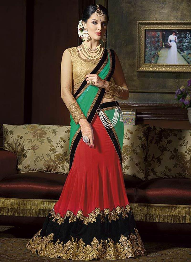 Phenomenal Faux Georgette Red Color Designer Lehenga Choli