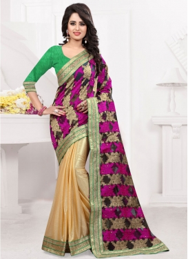Phenomenal Lace Work Lycra Half N Half Party Wear Saree