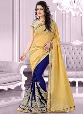 Phenomenal Lace Work Navy Blue Color Half N Half Designer Saree