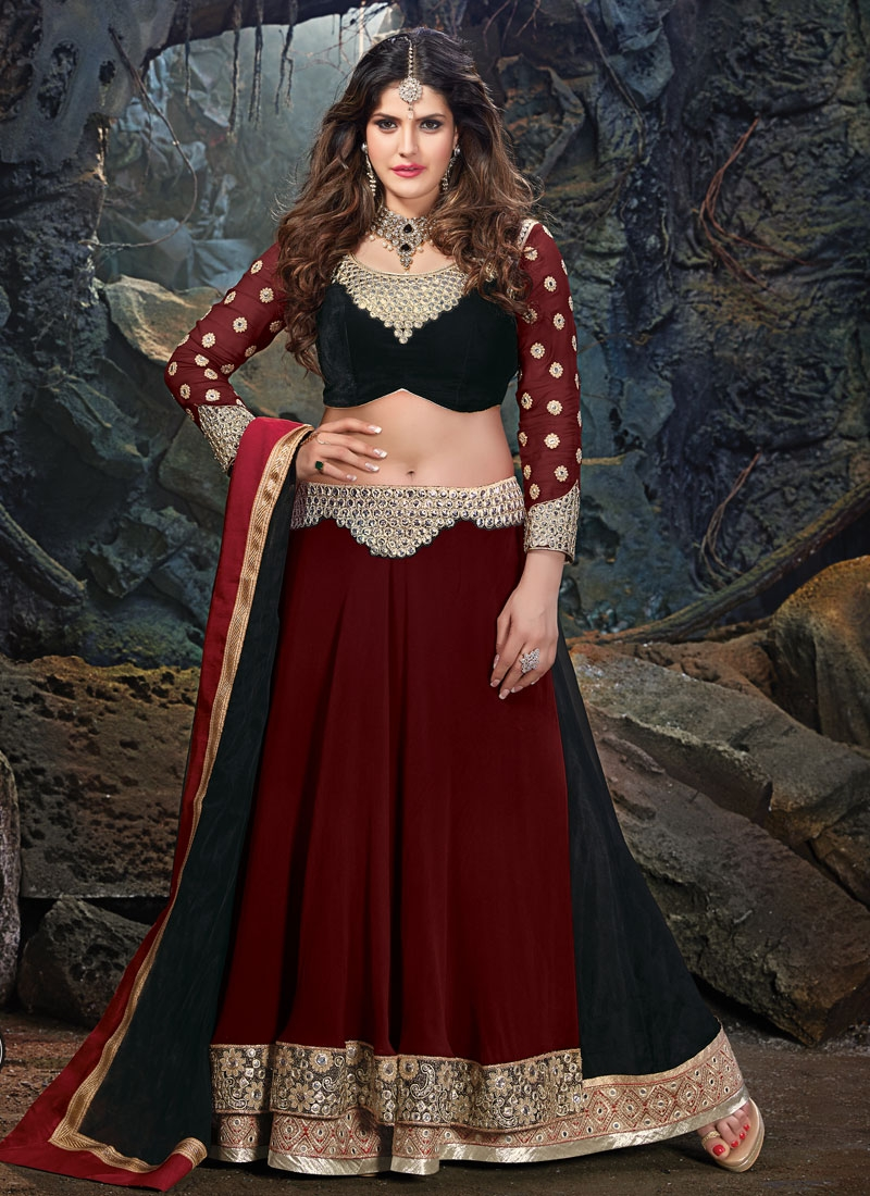 Phenomenal Mirror Work Zarine Khan Designer Lehenga Choli
