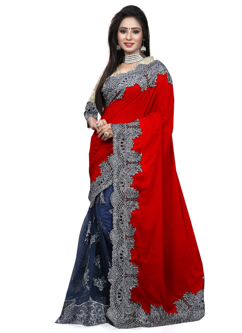 Phenomenal Red Color Velvet Half N Half Bridal Saree