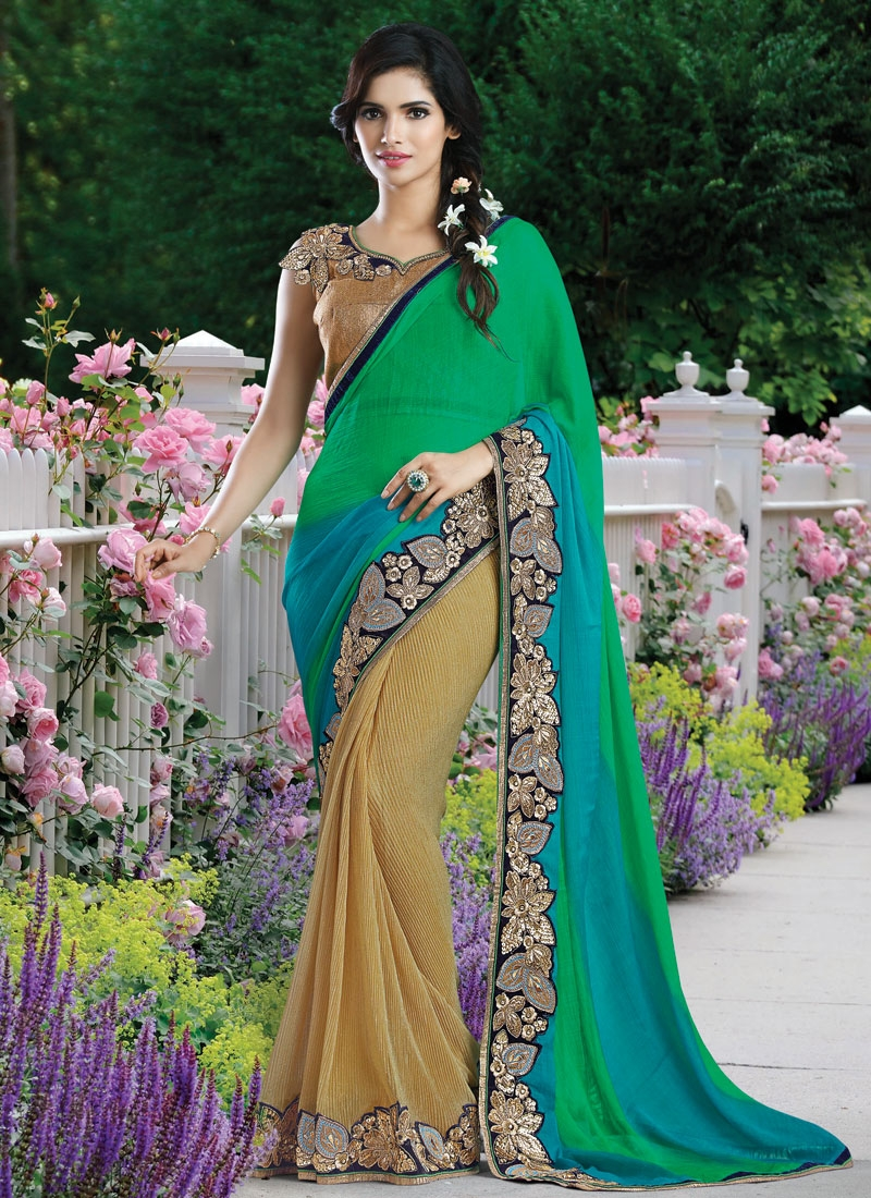 Phenomenal Sequins Work Half N Half Designer Saree