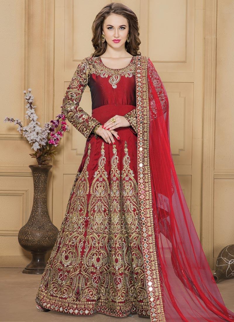 Phenomenal Tafeta Silk Booti Work Long Length Anarkali Suit