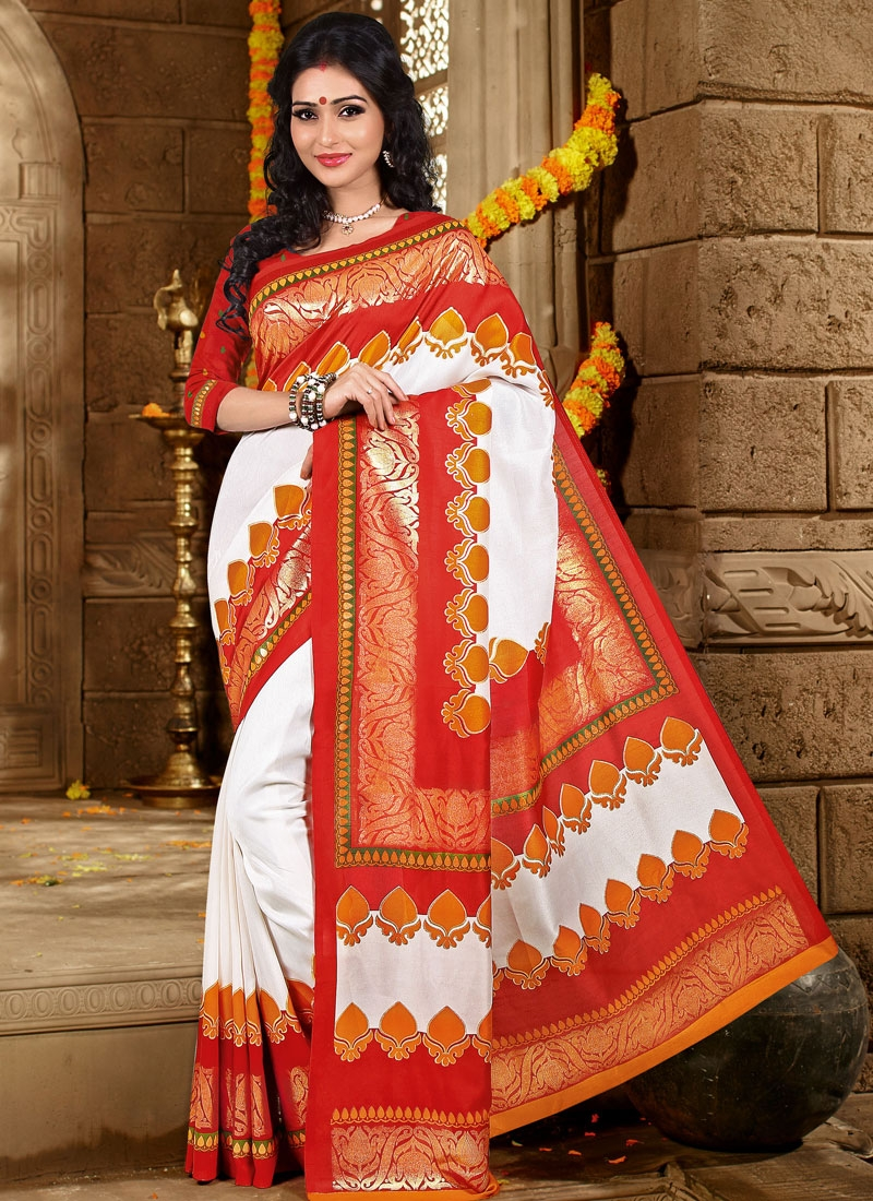 Phenomenal White And Red Color Casual Saree