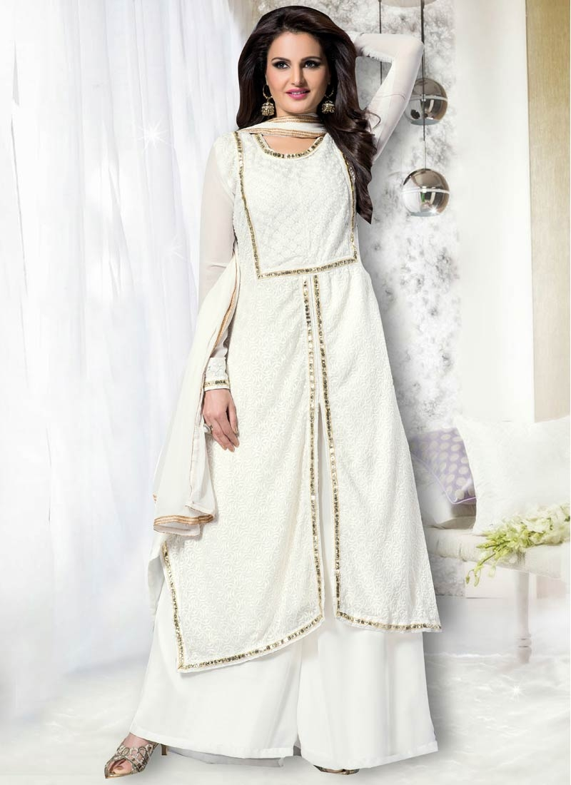 Phenomenal White Color Palazzo Style Party Wear Suit