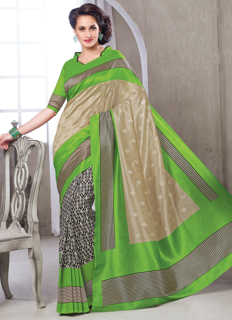 Picturesque Art Silk Printed Mint Green Color Casual Saree