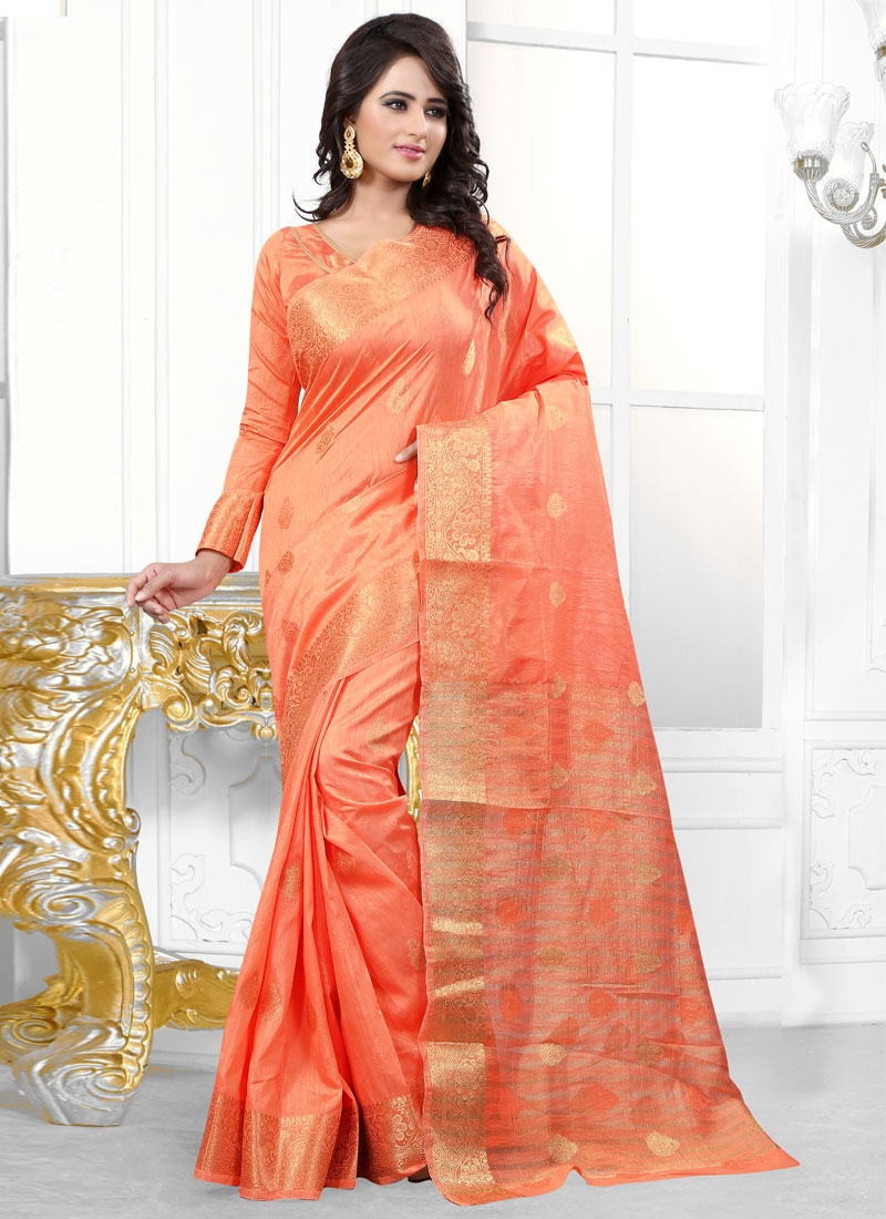 Picturesque Banarasi Silk Resham Work  Party Wear Saree