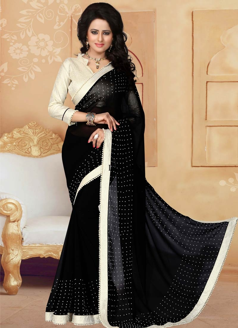Picturesque Beads Work Party Wear Saree