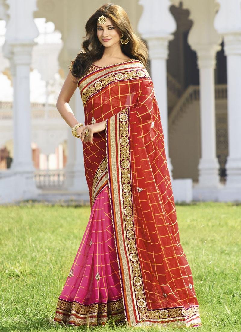 Picturesque Beads Work Pure Chiffon Half N Half Designer Saree