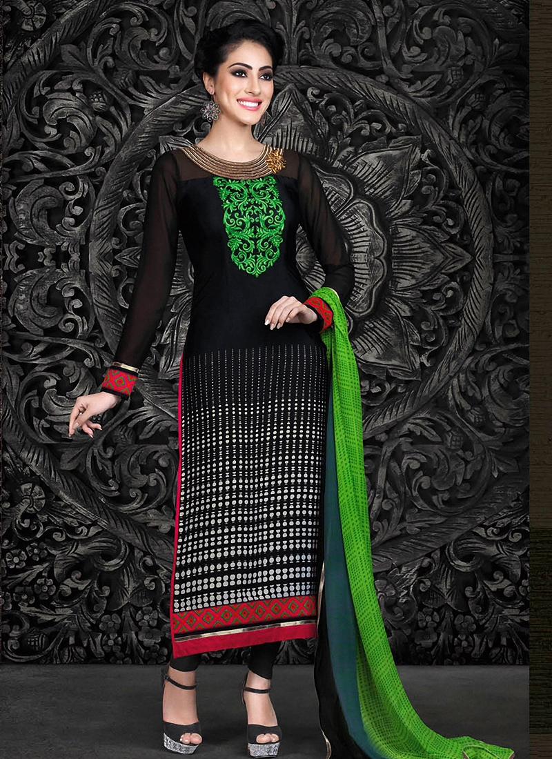 Picturesque Black Color Pant Style Pakistani Suit