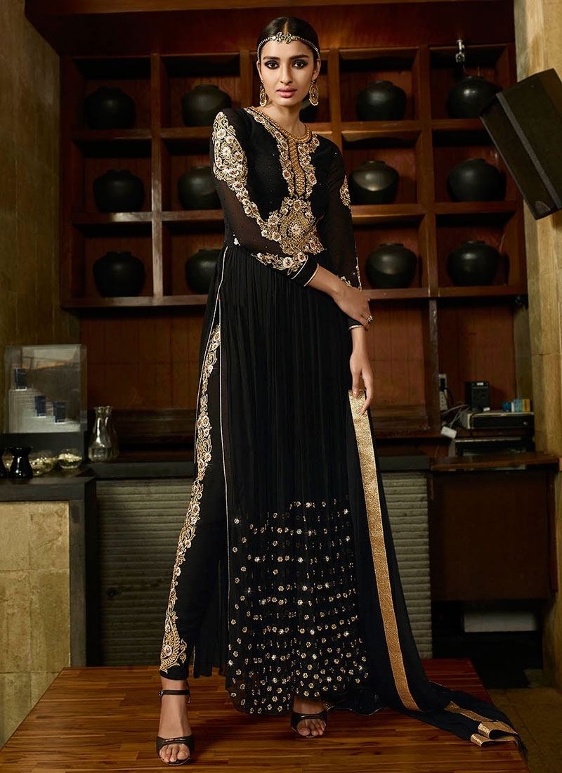 Picturesque Black Color Resham Work Pant Style Designer Salwar Suit