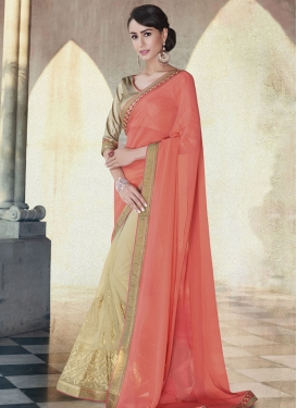 Picturesque Booti And Resham Work Half N Half Party Wear Saree
