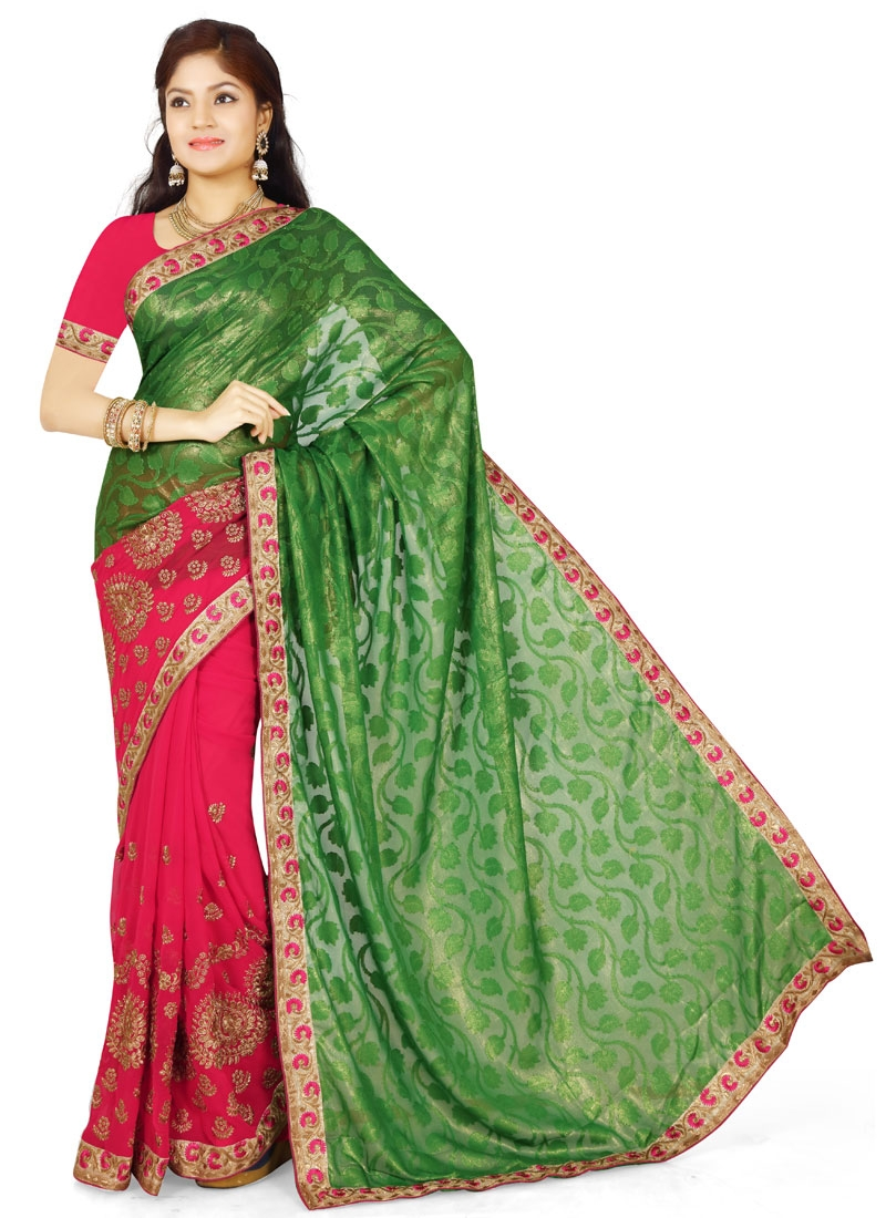 Picturesque Booti Work Half N Half Party Wear Saree