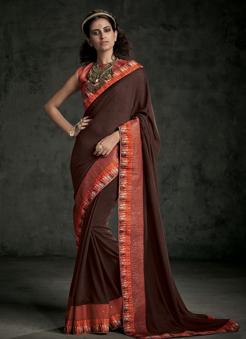 Picturesque Coffee Brown Color Party Wear Saree